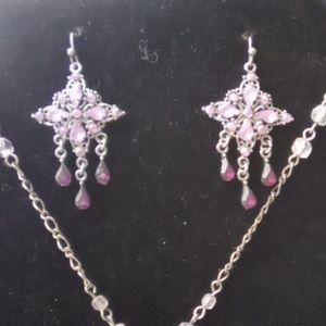 Vintage Jewelry - Amethyst Necklace & Earrings Set. Unbranded